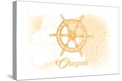Oregon - Ship Wheel - Yellow - Coastal Icon-Lantern Press-Stretched Canvas Print