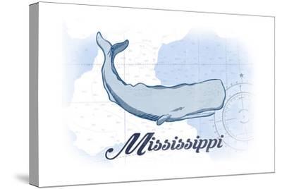 Mississippi - Whale - Blue - Coastal Icon-Lantern Press-Stretched Canvas Print