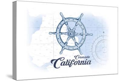 Coronado, California - Ship Wheel - Blue - Coastal Icon-Lantern Press-Stretched Canvas Print
