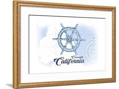 Coronado, California - Ship Wheel - Blue - Coastal Icon-Lantern Press-Framed Art Print