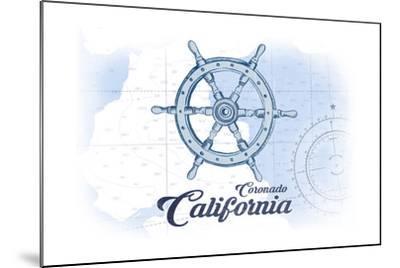 Coronado, California - Ship Wheel - Blue - Coastal Icon-Lantern Press-Mounted Art Print