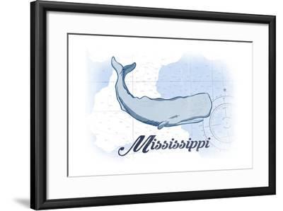 Mississippi - Whale - Blue - Coastal Icon-Lantern Press-Framed Art Print