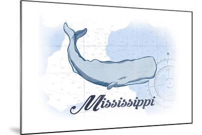 Mississippi - Whale - Blue - Coastal Icon-Lantern Press-Mounted Art Print