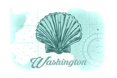 Washington - Scallop Shell - Teal - Coastal Icon-Lantern Press-Framed Art Print