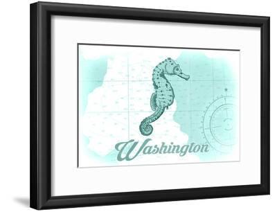 Washington - Seahorse - Teal - Coastal Icon-Lantern Press-Framed Art Print