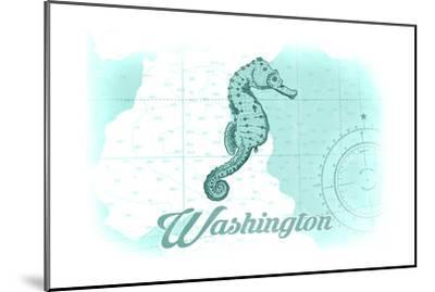 Washington - Seahorse - Teal - Coastal Icon-Lantern Press-Mounted Art Print