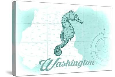 Washington - Seahorse - Teal - Coastal Icon-Lantern Press-Stretched Canvas Print