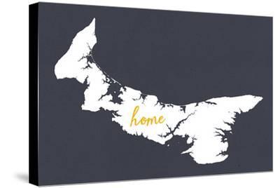 Prince Edward Island - Home - White on Gray-Lantern Press-Stretched Canvas Print