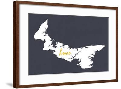 Prince Edward Island - Home - White on Gray-Lantern Press-Framed Art Print