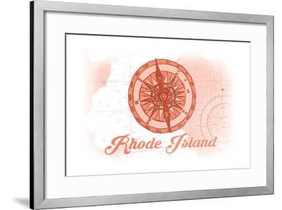 Rhode Island - Compass - Coral - Coastal Icon-Lantern Press-Framed Art Print