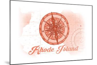Rhode Island - Compass - Coral - Coastal Icon-Lantern Press-Mounted Art Print