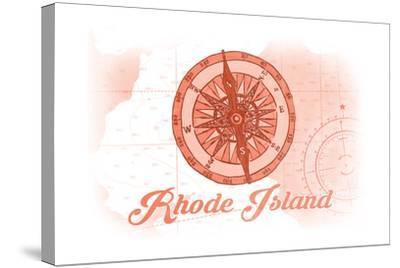 Rhode Island - Compass - Coral - Coastal Icon-Lantern Press-Stretched Canvas Print