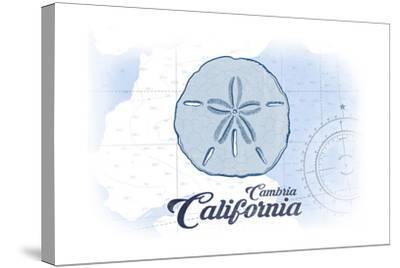 Cambria, California - Sand Dollar - Blue - Coastal Icon-Lantern Press-Stretched Canvas Print