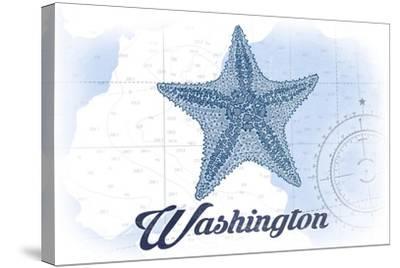 Washington - Starfish - Blue - Coastal Icon-Lantern Press-Stretched Canvas Print
