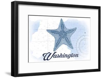 Washington - Starfish - Blue - Coastal Icon-Lantern Press-Framed Art Print
