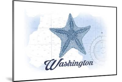Washington - Starfish - Blue - Coastal Icon-Lantern Press-Mounted Art Print