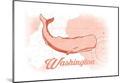 Washington - Whale - Coral - Coastal Icon-Lantern Press-Mounted Art Print