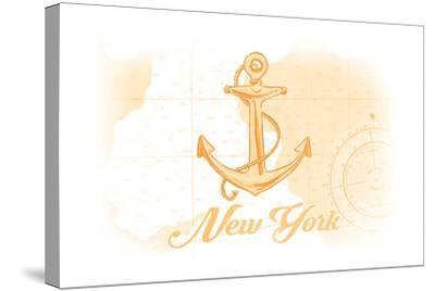 New York - Anchor - Yellow - Coastal Icon-Lantern Press-Stretched Canvas Print