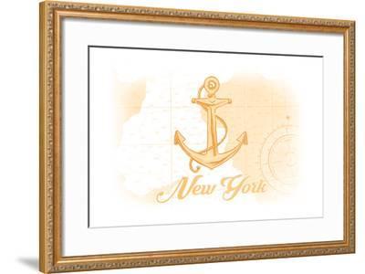 New York - Anchor - Yellow - Coastal Icon-Lantern Press-Framed Art Print