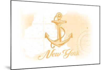 New York - Anchor - Yellow - Coastal Icon-Lantern Press-Mounted Art Print