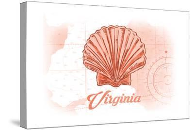 Virginia - Scallop Shell - Coral - Coastal Icon-Lantern Press-Stretched Canvas Print