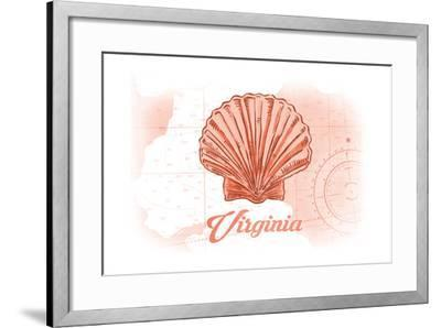 Virginia - Scallop Shell - Coral - Coastal Icon-Lantern Press-Framed Art Print