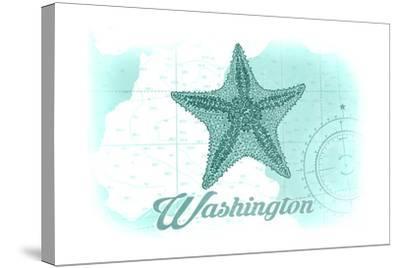 Washington - Starfish - Teal - Coastal Icon-Lantern Press-Stretched Canvas Print