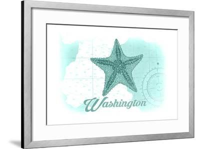Washington - Starfish - Teal - Coastal Icon-Lantern Press-Framed Art Print