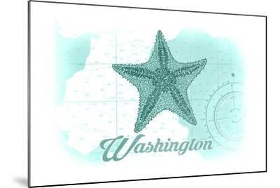Washington - Starfish - Teal - Coastal Icon-Lantern Press-Mounted Art Print