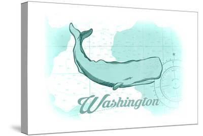 Washington - Whale - Teal - Coastal Icon-Lantern Press-Stretched Canvas Print