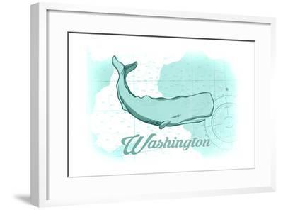 Washington - Whale - Teal - Coastal Icon-Lantern Press-Framed Art Print
