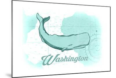 Washington - Whale - Teal - Coastal Icon-Lantern Press-Mounted Art Print