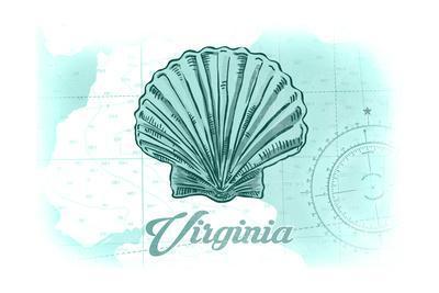 Virginia - Scallop Shell - Teal - Coastal Icon-Lantern Press-Framed Art Print