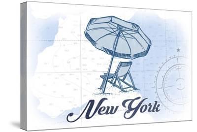 New York - Beach Chair and Umbrella - Blue - Coastal Icon-Lantern Press-Stretched Canvas Print