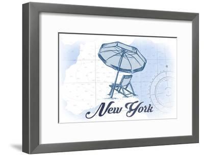 New York - Beach Chair and Umbrella - Blue - Coastal Icon-Lantern Press-Framed Art Print