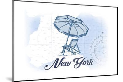 New York - Beach Chair and Umbrella - Blue - Coastal Icon-Lantern Press-Mounted Art Print