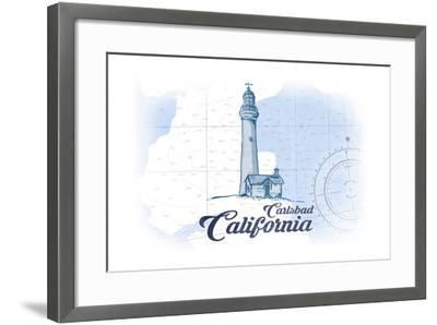 Carlsbad, California - Lighthouse - Blue - Coastal Icon-Lantern Press-Framed Art Print