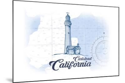 Carlsbad, California - Lighthouse - Blue - Coastal Icon-Lantern Press-Mounted Art Print
