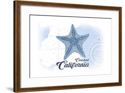 Carlsbad, California - Starfish - Blue - Coastal Icon-Lantern Press-Framed Art Print