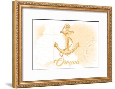 Oregon - Anchor - Yellow - Coastal Icon-Lantern Press-Framed Art Print