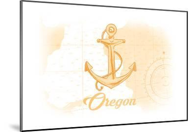 Oregon - Anchor - Yellow - Coastal Icon-Lantern Press-Mounted Art Print