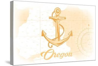 Oregon - Anchor - Yellow - Coastal Icon-Lantern Press-Stretched Canvas Print