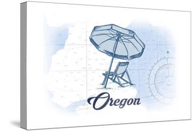 Oregon - Beach Chair and Umbrella - Blue - Coastal Icon-Lantern Press-Stretched Canvas Print