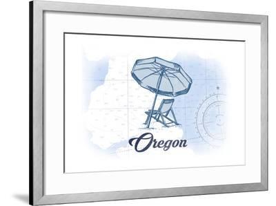 Oregon - Beach Chair and Umbrella - Blue - Coastal Icon-Lantern Press-Framed Art Print