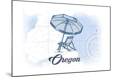 Oregon - Beach Chair and Umbrella - Blue - Coastal Icon-Lantern Press-Mounted Art Print
