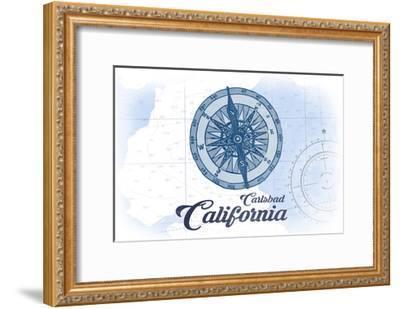 Carlsbad, California - Compass - Blue - Coastal Icon-Lantern Press-Framed Art Print