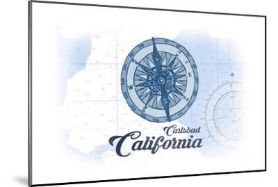 Carlsbad, California - Compass - Blue - Coastal Icon-Lantern Press-Mounted Art Print