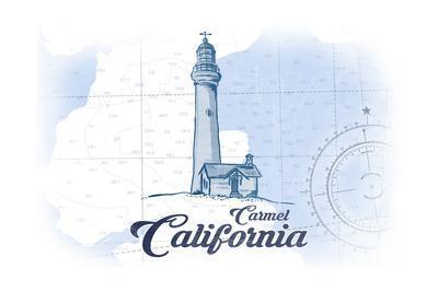 Carmel, California - Lighthouse - Blue - Coastal Icon-Lantern Press-Framed Art Print