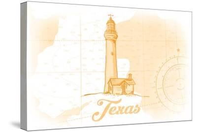 Texas - Lighthouse - Yellow - Coastal Icon-Lantern Press-Stretched Canvas Print