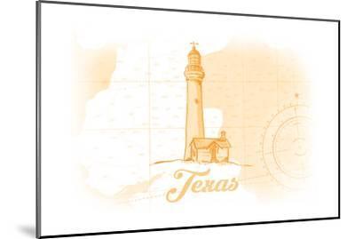 Texas - Lighthouse - Yellow - Coastal Icon-Lantern Press-Mounted Art Print